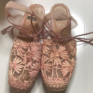 Stuart Weitzman Pink Lace Up Ballet Espadrille